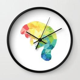 Flowery Rainbow Manatee! Wall Clock