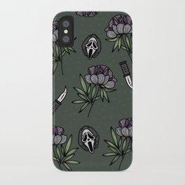 ghostface w knife ~green tones iPhone Case