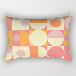 Thoroughly Modern Pink And Orange Geometric Design Rectangular Pillow