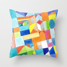 Playful Colorful Architectural Pattern Throw Pillow