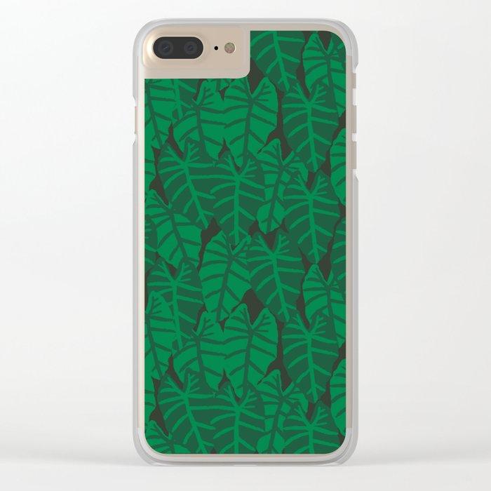 Elephant Ear house plant tropical garden green minimal pattern Clear iPhone Case