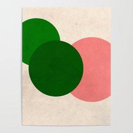 Living Coral Green Vintage Mod Circles Poster