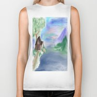 cabin Biker Tanks featuring Peaceful Cabin by Christina Dugger
