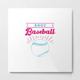 Baseball Math 6 4 3 2 Double Play Funny Sports Player Metal Print