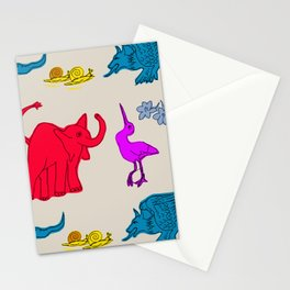 Elephant Print on Neutral Background Stationery Cards
