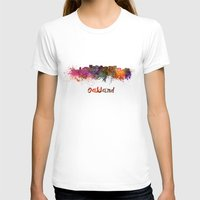 oakland T-shirts featuring Oakland skyline in watercolor by Paulrommer