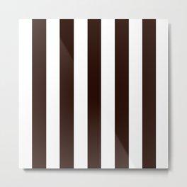 Root beer black - solid color - white vertical lines pattern Metal Print