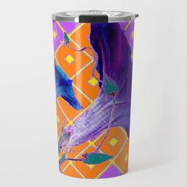 Black & Purple Morning Glories Pattern Travel Mug