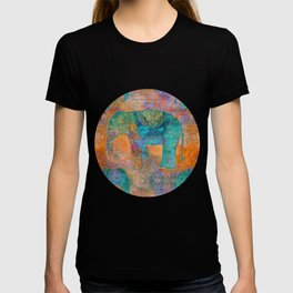 Elephant Pattern allover orange turquoise T-shirt