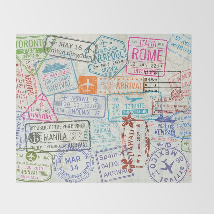Vintage world map with passport stamps throw blanket by vintage world map with passport stamps throw blanket gumiabroncs Images