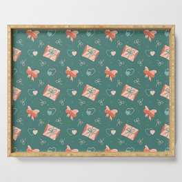Endless love-themed pattern with hearts, envelopes and bows. Serving Tray