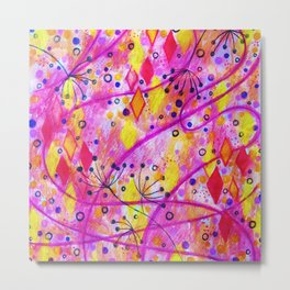 INTO THE FALL 2 - Whimsical Pink Purple Autumn Floral Watercolor Abstract Nature Pattern Fine Art  Metal Print