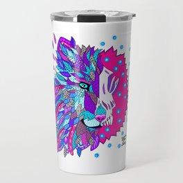 Wolf with Feathers Spirit Animal Pop Art Print Bold Travel Mug