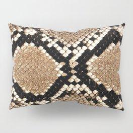 Pastel brown black white snakeskin animal pattern Pillow Sham