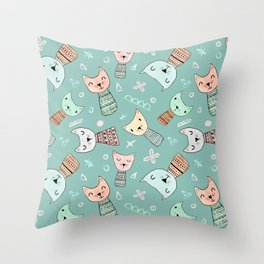 Kokeshi Kitties with Teal Background Throw Pillow
