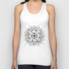Mandala Art, India, Geometric, Tribal Art, Black and white Unisex Tank Top