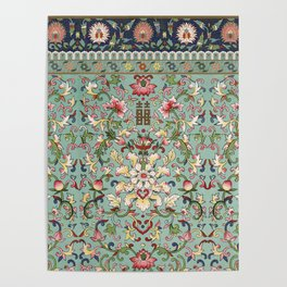 Asian Floral Pattern in Turquoise Blue Antique Illustration Poster