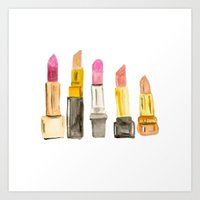 lipstick Art Prints featuring Lipstick by Sweet Colors Gallery
