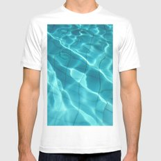 Water / Swimming Pool (Water Abstract) MEDIUM Mens Fitted Tee White