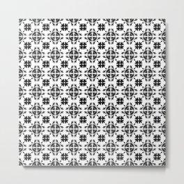 Black & White Floral Tile Pattern Metal Print