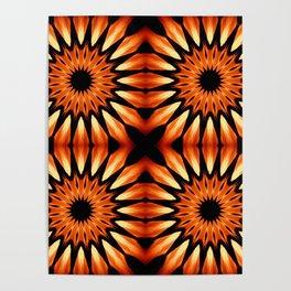 Orange & Black Pinwheel Flowers Poster