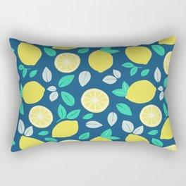 Summer Lemon Pattern in Navy Blue Rectangular Pillow