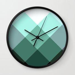 Teal Green Oxford Print Wall Clock