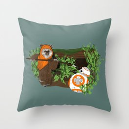 Wicket Meets BB-8 Throw Pillow