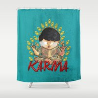 karma Shower Curtains featuring Karma by Seez