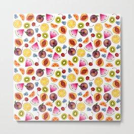 Watercolor Fruit Painting Metal Print