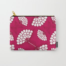 African Floral Motif on Magenta Carry-All Pouch