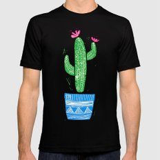 Linocut Cacti #2 in a pot Mens Fitted Tee Black MEDIUM
