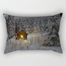 Tiny Cabin In The Winter Forest Snow Covered Pine Trees Rectangular Pillow
