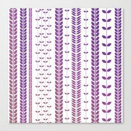 Purple Retro Leaves 2 Canvas Print