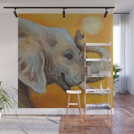 Good Luck Elephant Safari style landscape & elephant Animal portrait Yellow background Painting Wall Mural