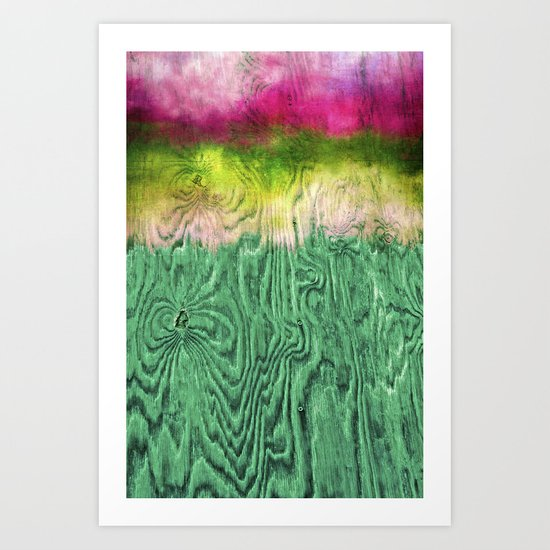Green Apple Ombre on Wood Art Print