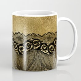 Black floral luxury lace on gold effect metal background Coffee Mug