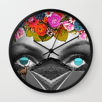 trip Wall Clocks featuring Trip by Pame Pinto Rojas