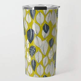 leaves and feathers chartreuse Travel Mug