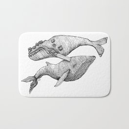 A Couple Of Whales  by Michelle Scott of dotsofpaint studios Bath Mat