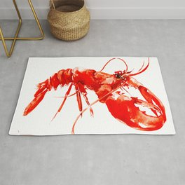 Red Kitchen Seafood Red Lobster design, art, painting Boston Rug