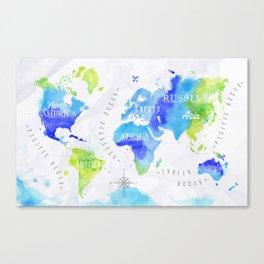Watercolor world map green Canvas Print