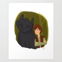 hiccup Art Prints featuring Hiccup and Toothless by Nocturne