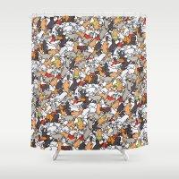 ohana Shower Curtains featuring Catcatcats by Ohana Tozato