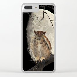 Great Horned Owl A138 Clear iPhone Case
