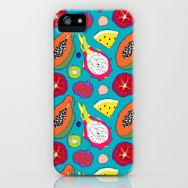 Seedy Fruits in Teal Blue iPhone Case