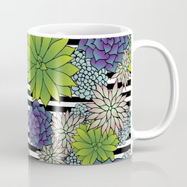 Succulents on Black and White Stripes Coffee Mug