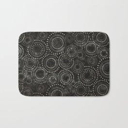 Black and White Circles Watercolor Pattern Bath Mat