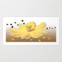yellow flower fall colors Art Print