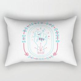 She Believed – Red & Cyan Palette Rectangular Pillow